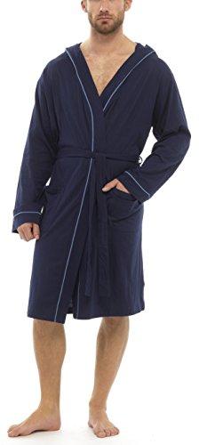 Foxbury Herren Leichte Baumwolle Mit Kapuze Bademantel - Blau, L/XL (Kapuze Mit Baumwoll-jersey)