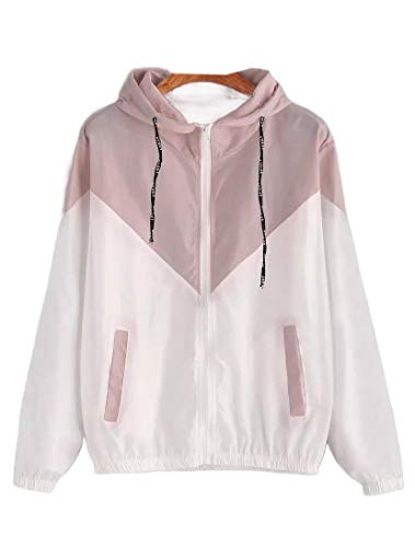 VITryst Women's Tops Outwear Mixed Color Elasticated Waistband Coat Pink XL Skull Track Jacket