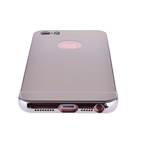 Custodia per iPhone 6 / 6S ( 4.7 pollici ), HB-Int 3 in 1 Lusso Bumper Case Alluminio Metallo Caso Ultra Leggera Copertura Anti Graffi Protettivo Specchio Back Cover + Pennino + HD Protezione dello Sc Argento