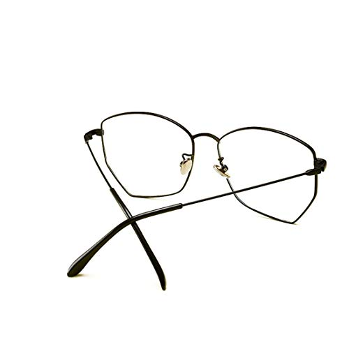 Shiduoli Übergroße Rahmen unregelmäßige Brillenrahmen Polygonale Metallgläser (Color : Black)