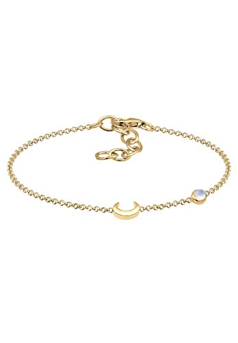 Elli Damen-Kettenarmband 925_Sterling_Silber Mondstein 0208510317_16 - 16cm Länge
