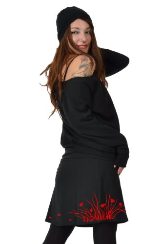 Sommer Rock Damen knielang Print Windelfe von 3Elfen - handbedruckt in Berlin Rot