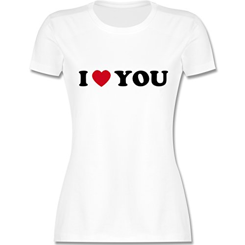 I love - I Love You - tailliertes Premium T-Shirt mit Rundhalsausschnitt für Damen Weiß