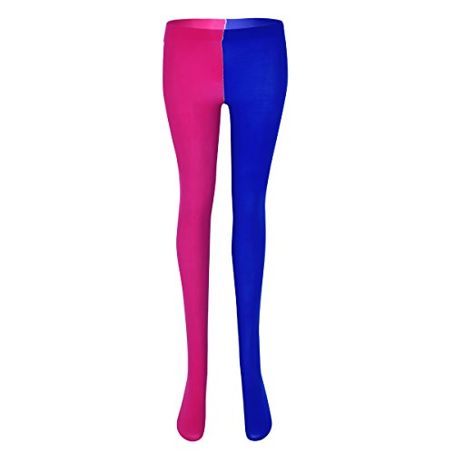67cfc4473dd80 Yeahdor Unisex Mans Women Jester Pantyhose Costume Full Footed Tights Silky  Bodystockings Multicolor Rose&Blue One_Size