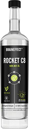 BRAINEFFECT MCT Öl C8 | Rocket C8 (Caprylsäure) | Extrakt aus Kokosöl | Ketogene Ernährung, Bulletproof Coffee, Smoothies & Dressing | Geschmacksneutral | 500ml Glasflasche | vegan