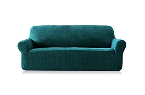 Subrtex 2-Sitzer kariert Sofabezug Sofahusse Stretchhusse Sofaüberwurf Couchhusse Spannbezug (2-Sitzer Sofa, Blau)