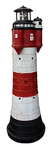 Leuchtturm Roter Sand mit Solar Beleuchtung Rundum Leuchtfeuer 80cm Maritime Deko