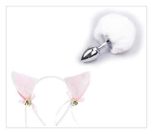 Für Erwachsene Bunny Kostüm Fluffy - WM-EILIAN Plüsch Katze Cosplay Ohren Kleine Glocke Nettes Stirnband Kaninchen Kurz Metall Schwanz Anime Party Halloween Weihnachtsfeier Kostüm