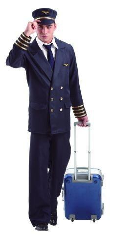 Piloten Kostüm Hut - Foxxeo Pilotenkostüm für Herren mit Hut - Piloten Uniform mit Mütze für Karneval Fasching Kostüm Pilot Größe L