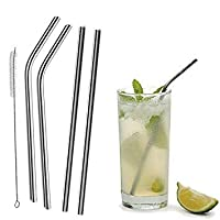 FashLady 4Pcs Reusable Straight/Bent Drinking Stainless Steel Straws With 1 Pc Cleaning Cleaner Brush For Yeti 20 Ounce Tumbler