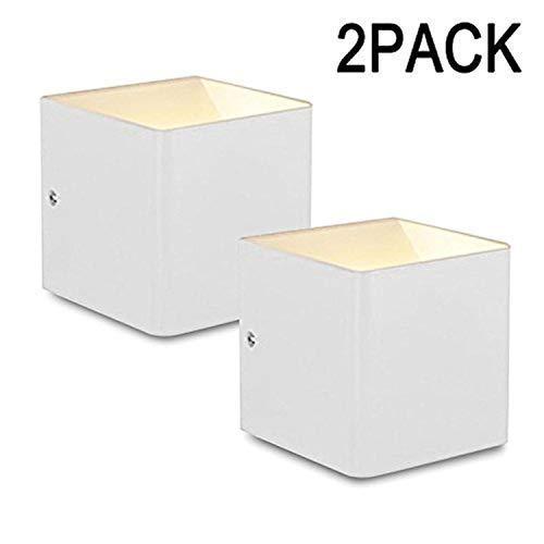 Asvert LED 5W Wandleuchte Aluminium Innen Cube Wandlampe Weiß Flurlampe Modern Up Down Lichter mit einstellbar Abstrahlwinkel Design Würfel Gehäuse 3000K, Warmweiß (ein Paar) -
