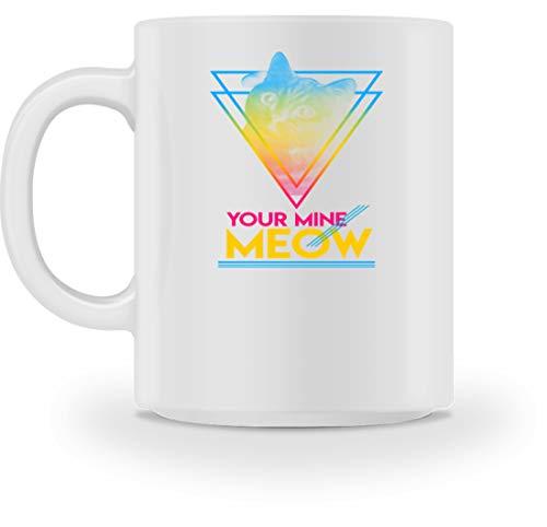 SPIRITSHIRTSHOP Your Mine Meow - Sphärische Bunte Katze - Tasse -M-Weiß -