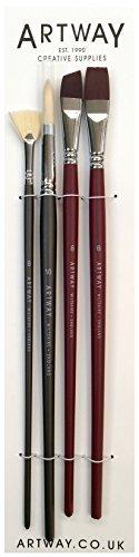Artway - Set di pennelli a manico lungo - In cinghiale e nylon - Rotondo Piatto da Stesura e a Ventaglio -Confezione da 4