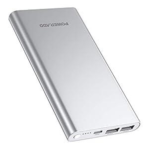 POWERADD Pilot 4GS 12000mAh Power Bank Cargador Portátil Dual Puerto Salida (3A Salida de Alta Velocidad) para iPhone iPad iPod Samsung y Más-Plateado