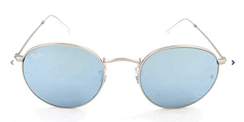 Ray-Ban Unisex Rund Sonnenbrille Rb3447, Gold (MATTE SILVER LIGHT GREEN MIRROR SILVER 019/30), Gr. 50 mm