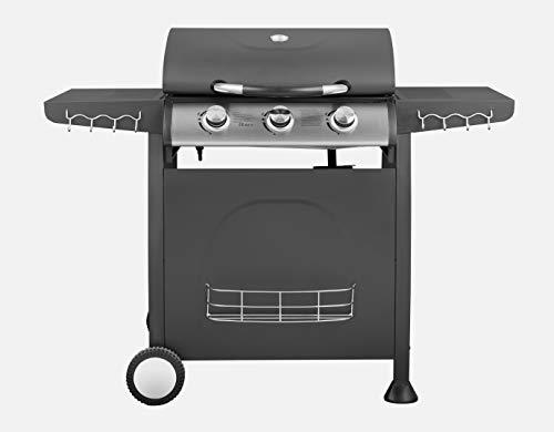 Traedgard® Gasgrill BBQ Trio 3 Edelstahl-Brenner Grill | Thermometer | Grillrost aus Gusseisen | 9 KW | mit Zubehör -