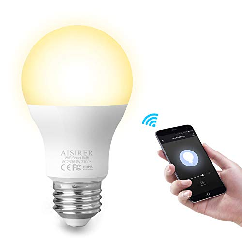 AISIRER Smart Lampe Smart Glühbirnen Wifi LED Light WLAN Bulb E27 Birne 9W 806LM Kompatibel mit Amazon Alexa Echo Google Home Kein Hub erforderlich Dimmbares Warmes Licht 2700K