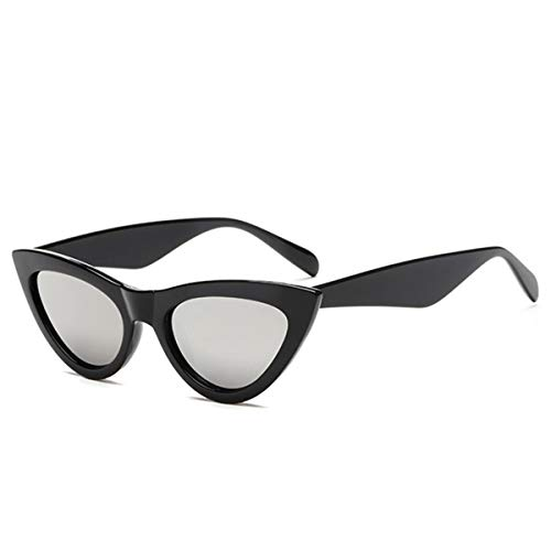 FGRYGF-eyewear Sport-Sonnenbrillen, Vintage Sonnenbrillen, NEW Cute Sexy Retro Cat Eye Sunglasses Women Black White Triangle Vintage Sun Glasses For Male Female UV400 Silver