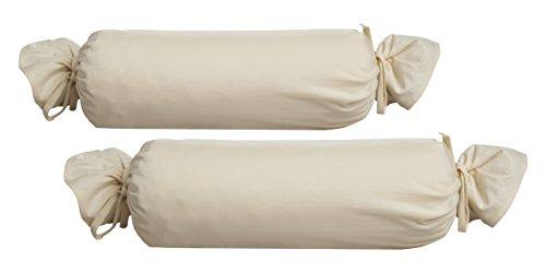 Biberna 0077144Jersey de para cojín cilíndrico de algodón 100%, 2unidades), 15x 40cm natural, 27x 18x 2cm