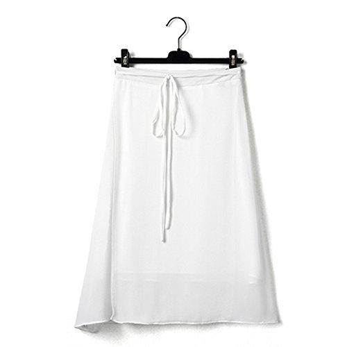 GZZ Weißer Chiffon- Rock, Langer Taillenrock des Damensommers Langer, Ein Wortrock, Spalte Retro-, literarische Art, Halber Längenrock,Weiß,XS (Halbe Spalte)