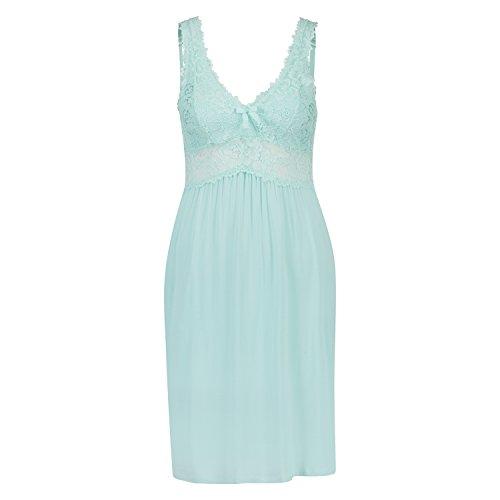 Hunkemöller Damen Slipdress Modal Lace Blau S133702