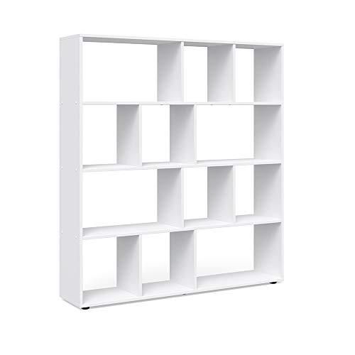 Vicco Raumteiler Pilar 12 Fächer Weiß - Raumtrenner Bücherregal Standregal 131,6 x 143 x 29 cm (BxHxT), Spanplatte Aktenregal - Bücher Cd Kinder Für Auf