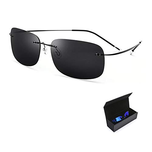 CWYPB Herrensonnenbrille, Ultraleichte Rahmenlose Polarisierte Brille Fashion Square Driving Sonnenbrille UV400 Mit Geschenkbox Zum Einkaufen Am Strand,B