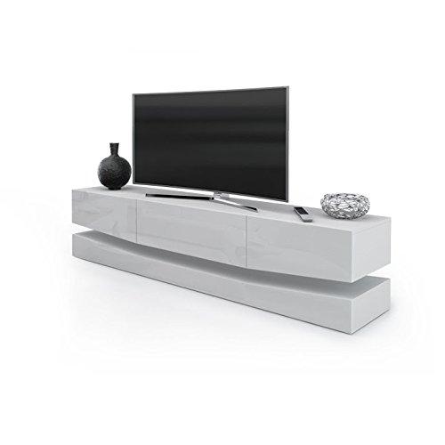 Porta tv moderno modello new york, mobile per tv per il tuo soggiorno frontali bianco lucido