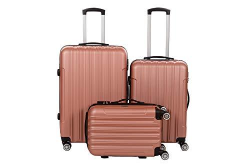 Birendy 35004 Reisekoffer Polycarbonat Hartschalen Hardcase Trolley mit Zahlenschloss Koffer Kofferset 4 Rollen einfacher Transport (Rose-Gold, Set L+XL+XXL)