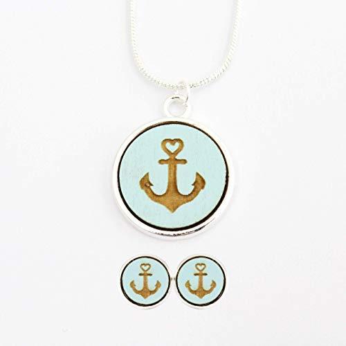 Schmuckset Kette-Ohrringe versilbert | Holz - maritim -Anker blau