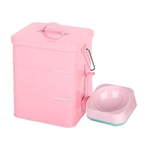 Pet Food Bin mit Pet Bowl Tierfutter-Behälter Pet Food Storage-Dose Lagerplätze Food Storage Container 1 Tasse gemessen Scoop (Farbe : Pink, größe : 15L Square barrel) -