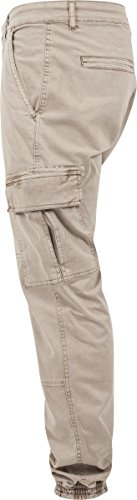 Urban Classics Herren und Jungen Cargohose Washed Cargo Twill Jogging Pants, Rangerhose mit aufgesetzten Seitentaschen Elfenbein (sand 208)