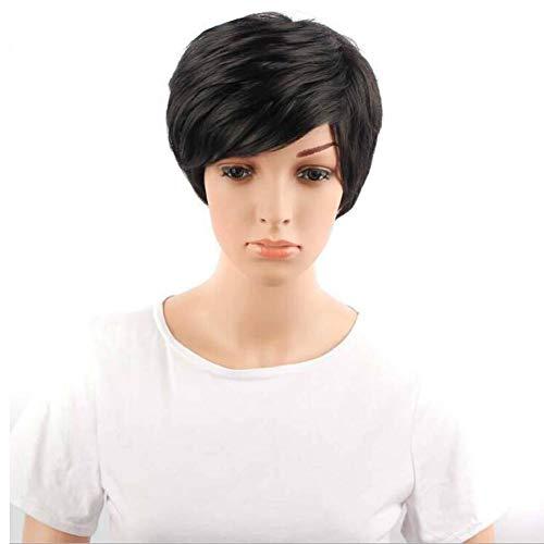 YUI Flauschige Afro Kurz Perücken Direkt mit Bangs Synthetik Täglich Party Perücke zum Schwarz Frau Natürlich Haar + Kostenlos Perücke Deckel 8