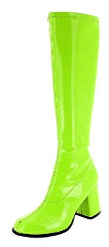 Das Kostümland Gogo Damen Retro Lackstiefel - Grün Gr. 39 - Tolle Schuhe zur 70er 80er Jahre Disco Hippie Mottoparty