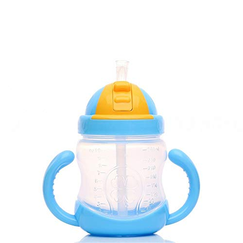 SGD Plastic Unbreakable Soft Straw Sipper Cup Water Bottle (Blue, 280 ml)