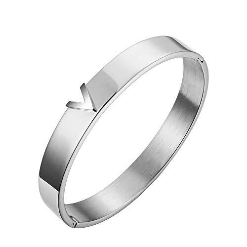 Armband Titan Stahl V-Form Love Silber