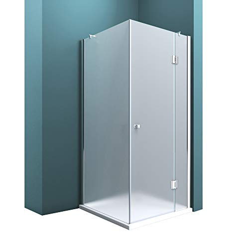 Duschabtrennung Milchglas 75x90, 8mm ESG-Sicherheitsglas, Duschwand aus Echtglas, Nanobeschichtung, Duschkabine Ravenna05S