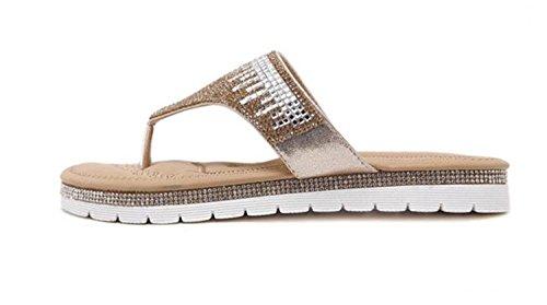 Minetom Donne Ragazze Moda Estate Pantofole Strass Abbellimento Infradito Peep Toe Sandali Scarpe Da Spiaggia Oro