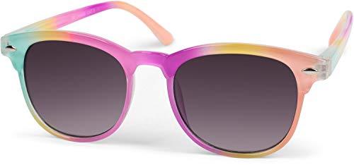 Stylebreaker occhiali da sole per bambini con montatura colorata, montatura in plastica e lenti piatte in policarbonato 09020090, colore:cornice sfumata turchese-rosa-albicocca/vetro grigio