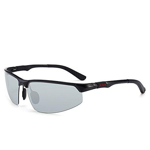 kamier Aluminium-Magnesium-Sonnenbrille mit farbwechselnder Polarisation und schwarzer Fahrbrille