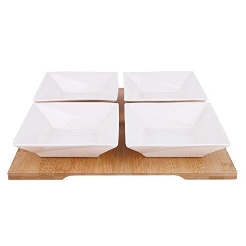 Vancasso Porzellan Dessertschalen mit Tablett aus Bambus, Servierschalen, Tapas Snack Schalen Set