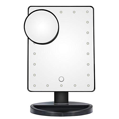 KUVV Perfecto Intelligente LED-Tischleuchte Kosmetikspiegel Desktop Touch Sensing Illumination HD mit 10x Saugnapf-Lupe kleiner runder Spiegel (Color : Black)