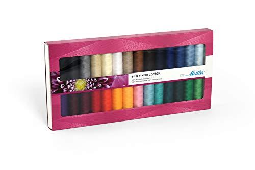 Mettler Kit de fil à coudre 28 pièces Finition soie en coton – Filetage universel pour couture et broderie fabriqué à partir de coton de qualité supérieure – 200 mètres par rouleau