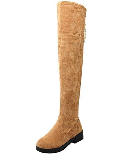 en Elegant Spitzen Faltbare Winter Faux Wildleder Oberschenkel Stiefel Von BIGTREE Gelb 34 EU (Gelb Oberschenkel Hohe Stiefel)