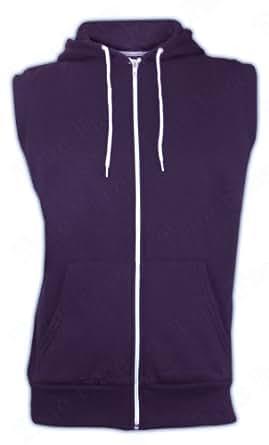 Mens Soul Star Gilet Sleeveless Sweatshirt Hoodie Top Jumper Hooded Cardigan (L, Plum)