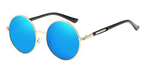 BOZEVON Retro Style Circle Sonnenbrille Runde Linse für Damen Gold-blau (Blaue Retro Sonnenbrille)