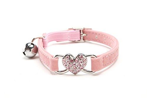 Tocoss (TM) Hei?er Verkauf Rhinestone-Herz-H¨¹ndchen Valentine Katzenhalsband mit bling Sicherheit Elastic abbrechbar G¨¹rtel Bell-Rosa, Rot, S 28cm --- Rosa