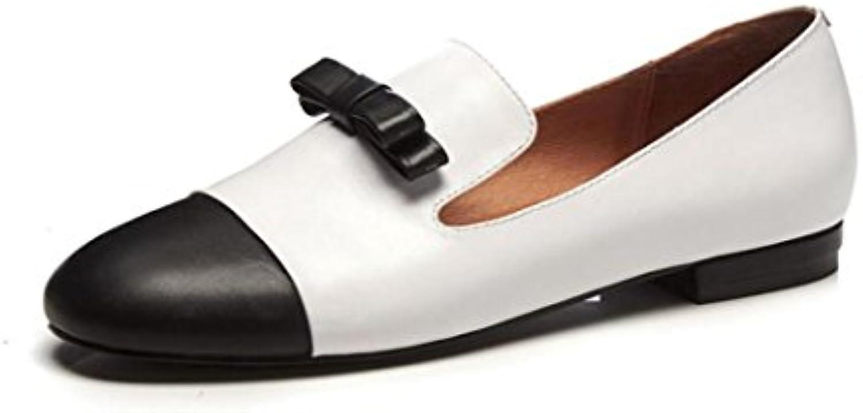 ZFNYY Zapatos Individuales Femeninos golpean Arco de Color EN la Boca Zapatos Planos de Cuero Yardas Grandes