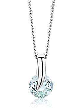 Miore Damen-Halskette 9 Karat 375 Weißgold Aquamarin Anhänger 45cm