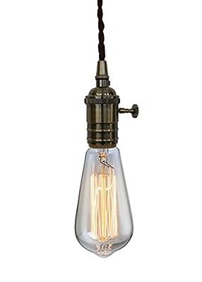 PureLumeTM Vintage Alt-Messing Rendel Schmucklampe Pendeleuchte Hängelampe mit Edison 40W Glühbirne von Purelume - Lampenhans.de